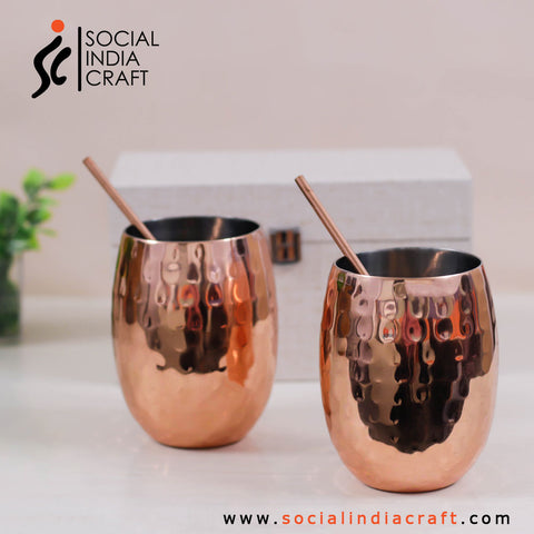 Copper Mugs Two Piece Set with Straws