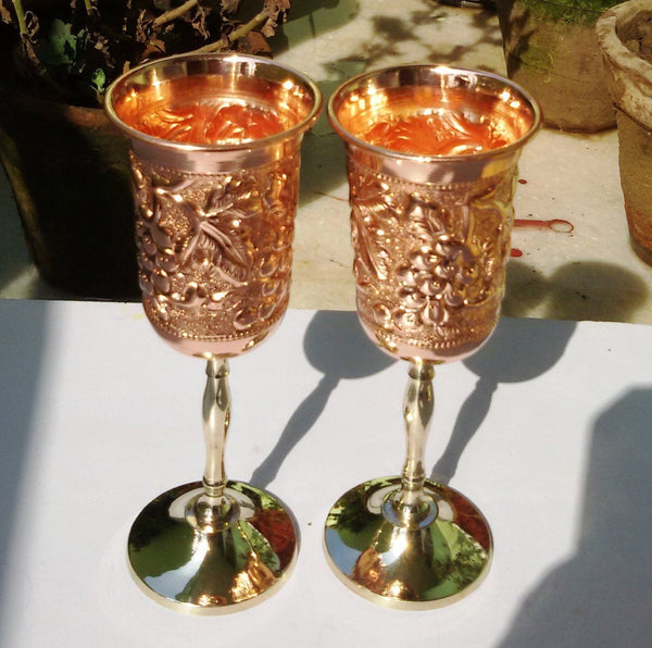 Copper Wine Glass Two Piece Set