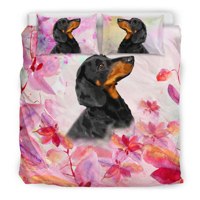 Ottedesign dachshund bedding set, beige, cherry blossom