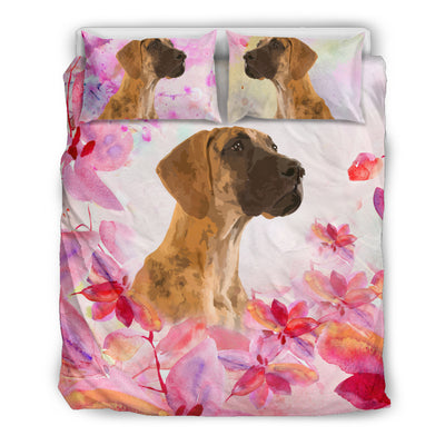 Ottedesign great dane bedding set, beige, cherry blossom