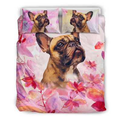 Ottedesign Frenchie bedding set, beige, cherry blossom
