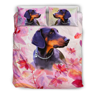 Ottedesign doberman bedding set, beige, cherry blossom