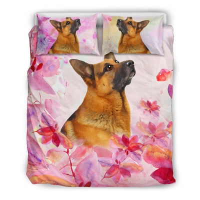 Ottedesign german shepherd bedding set, beige, cherry blossom