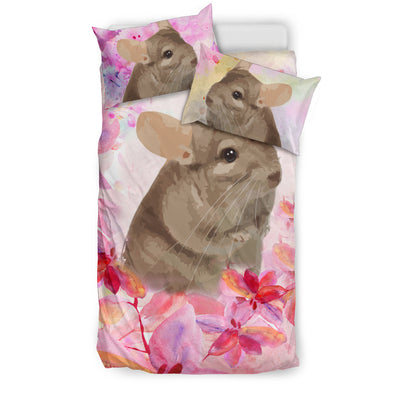 Ottedesign chinchilla bedding set, beige, cherry blossom
