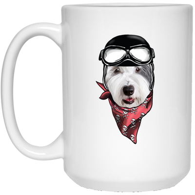 Old English Sheepdog Wear Helmet White Mug