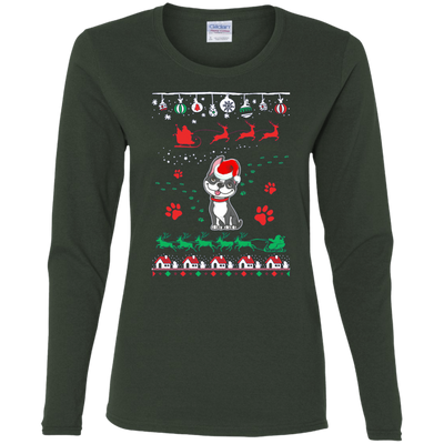 Boston Terrier  Christmas T-shirts G540L Gildan Ladies' Cotton LS T-Shirt