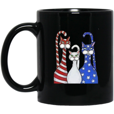 Cat Mixed With America Flag Color Black Mug