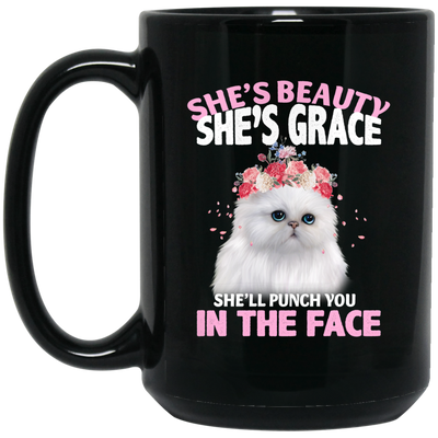 Beauty And Grace Cat Mug Black Mug