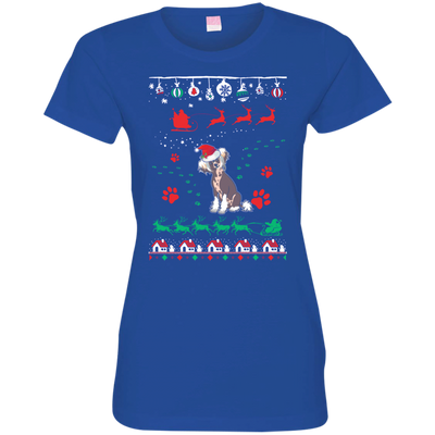 Chinese Crested Christmas T-shirts 3516 LAT Ladies' Fine Jersey T-Shirt
