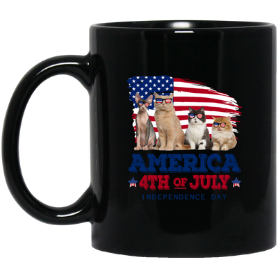 Cat America 4th Of July Indepence Day Black Mug