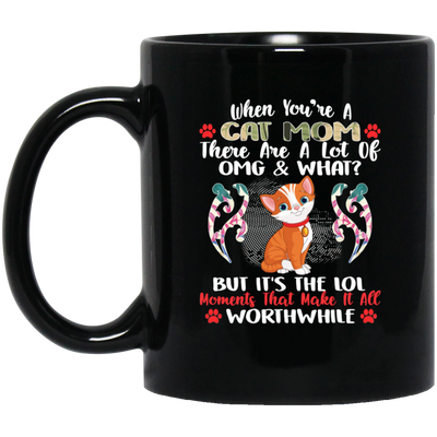 Cat Mom Black Mug