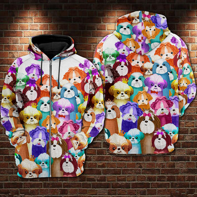 Shih Tzu Multi Hoodie Raglan Zip up PM-DS003 8M