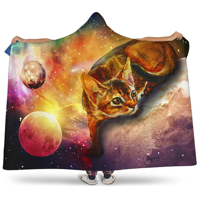 Ottedesign abyssinian cat hooded blanket, galaxy