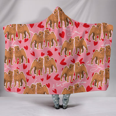 Ottedesign shar pei hooded blanket, heart
