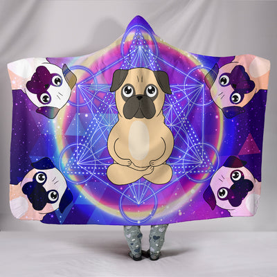 Ottedesign pug hooded blanket, galaxy