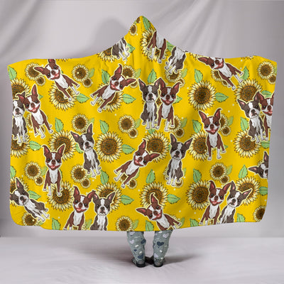 Ottedesign boston terrier hooded blanket, sunflower
