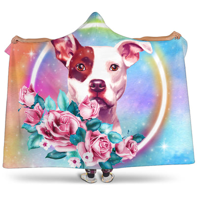 Ottedesign pitbull hooded blanket, rose
