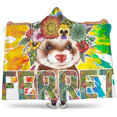 Ottedesign ferret hooded blanket, flower