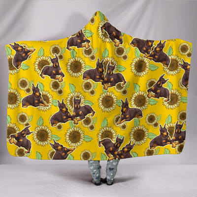 Ottedesign doberman hooded blanket, sunflower
