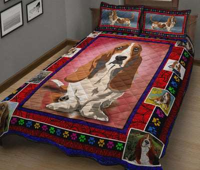 Ottedesign Basset Hound Quilt Bed Set - U040619