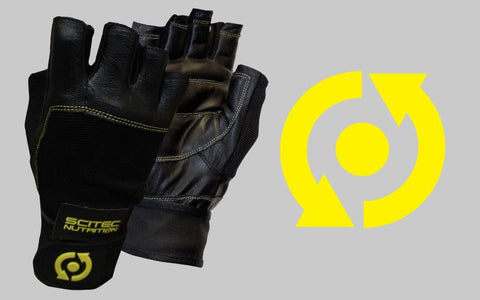 Scitec Nutrition Training Gloves Yellow Leather Style