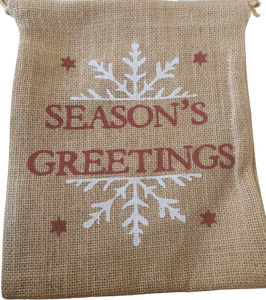 Premium Jute Christmas Themed Season's Greetings Sack (5 Pack+)