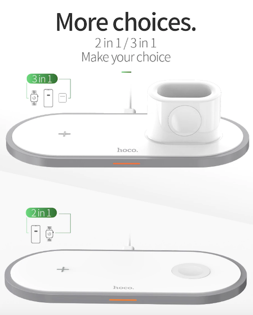 HOCO CW21 3 in 1 Wireless Charger for Apple Watch 4 3 2 1 Fast Charger for Airpods iPhone 11 X XS MAX 8 QI Wireless Charging Pad