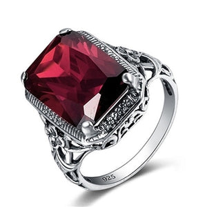 Bague Ringen Rectangle Vintage Red Ruby Rings For Women New Fashion Gemstone Silver 925 Jewlery Ring Party Gifts