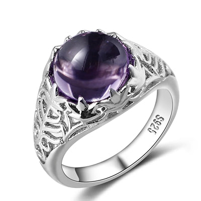 Bague Ringen Vintage 100% 925 Sterling Silver Round Natural Amethyst Wedding Engagement Rings For Women Fine Jewelry Size 6-10