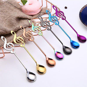 Stainless Steel Coffee Spoon Music Theme Tea Stirring Spoon Ice Cream Dessert Scoop Teaspoon Flatware Gift