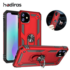 Magnetic Case for iPhone 11 Pro 2019 on iPhone XR X Xs Max Luxury Shockproof Metal Ring Case for iPhone 7 8 6 6S Plus Funda