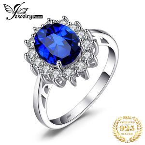 JewelryPalace Created Blue Sapphire Ring Princess Crown Halo Engagement Wedding Rings 925 Sterling Silver Rings For Women 2019