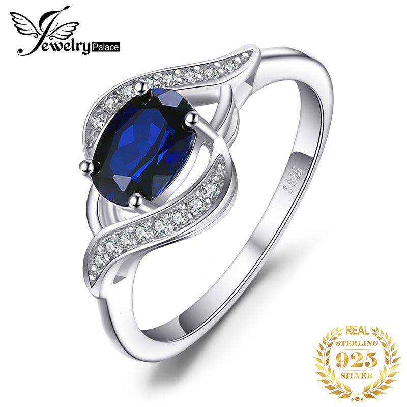 Blue Sapphire Ring 925 Sterling Silver Rings for Women Halo Engagement Ring Silver 925 Gemstone Jewelry