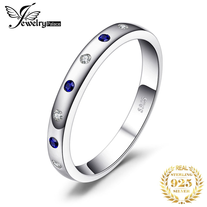 JewelryPalace Created Blue Sapphire Ring 925 Sterling Silver Rings for Women Wedding Rings Eternity Band Silver 925 Fine Jewelry