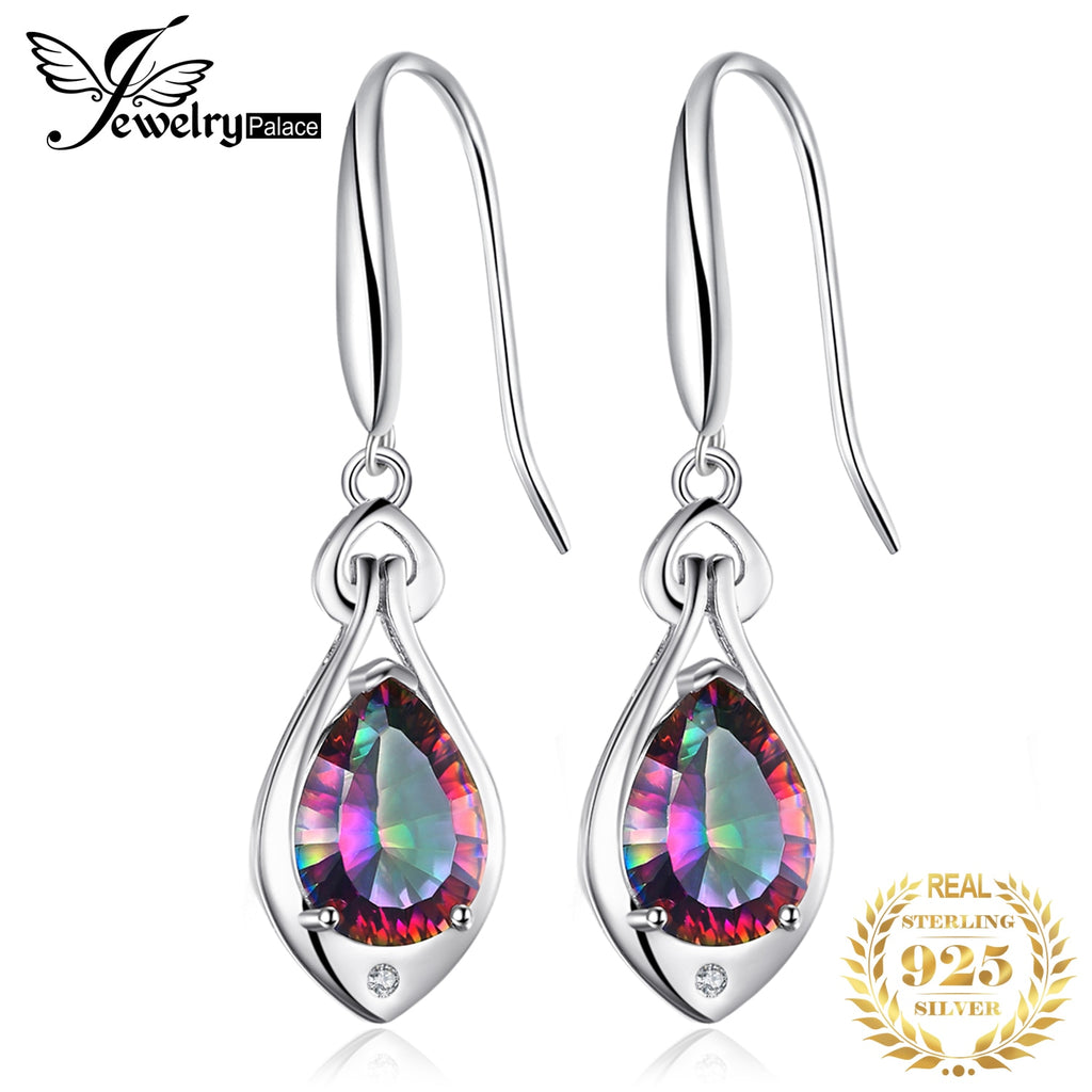Jpalace 7ct Genuine Rainbow Mystic Topaz Drop Earring 925 Sterling Silver Earrings For Women Korean Earings Fashion Jewelry 2019