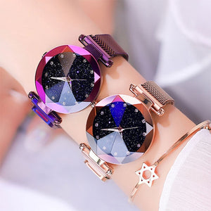 2019 Watch Women Watches Starry Sky Luxury Diamond Ladies Magnet Quartz Wrist Watch