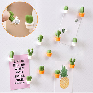 6pcs Fridge magnet 2020top 6pcs Cute Succulent Plant Magnet Button Cactus Refrigerator Message Sticker