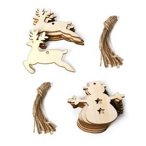 3/10pcs Wooden Elk Snowman Shape Christmas Pendants DIY Home Party Decoration Ornaments Craft Xmas Tree Party Wedding Decoration