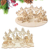 DIY Christmas Wooden Toy Xmas Desktop Decoration for Home Christmas Ornaments Three-dimensional Kids Toy Gift