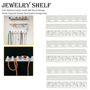 9 Pcs  Jewelry Hooks Wall Adhesive Mount Storage Holder Organizer Display Stand jewelry storage hook