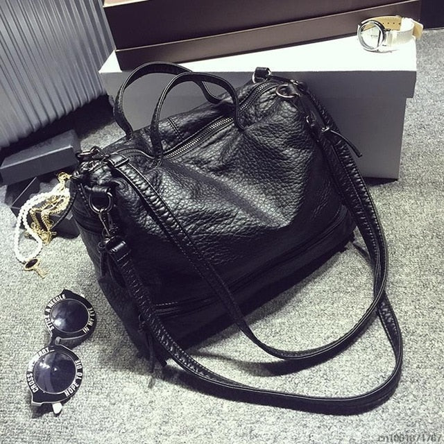Bolish Fashion Waterproof Pu Leather Crossbody Bag Vintage Women Messenger Bag Motorcycle Shoulder Bag Large Women Handbag