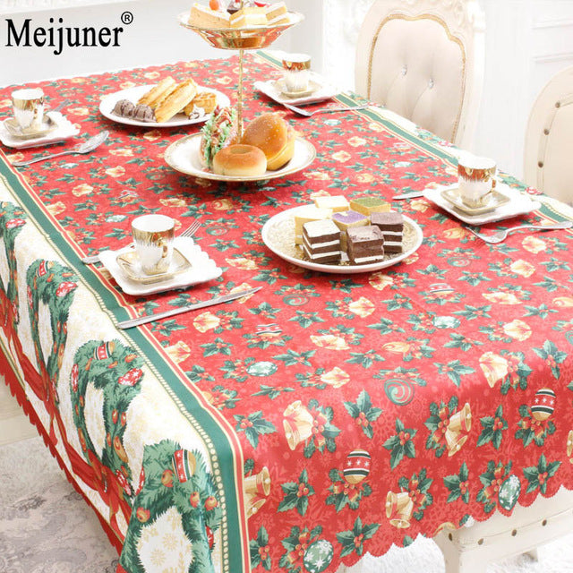 Meijuner Hot Sale 2018 Christmas Decorations Rectangular Tablecloth Prints Creative Christmas Restaurant Tablecloths