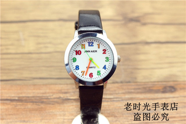 Fashion Round Learn To Time Kids Boy Girl  Quartz Student Wristwatch Children's Tutor Watch simple design child gift clock