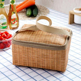 Lunch Bag for Women kids Men Cooler Lunch Box Bag Imitation Rattan Lunch Bag Insulation Package