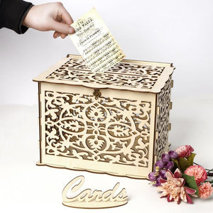 DIY Wedding Gift Card Box Wooden Money Box with Lock Beautiful Wedding Decoration Birthday Party Supplies