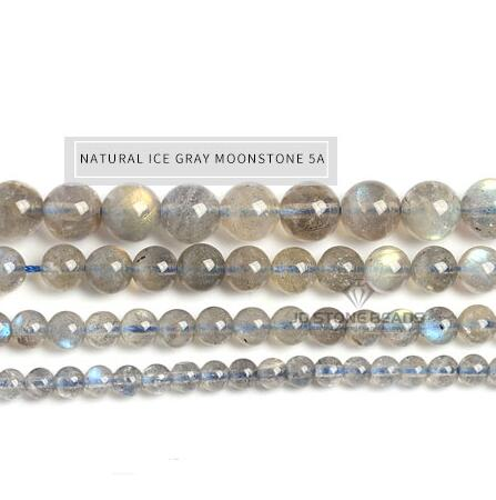 Genuine Nature Gray Moonstone Beads labradorite grade 7A 6A 5A 4A 3A 2A A Semi-Finished Stone Accessories For Jewelry Making