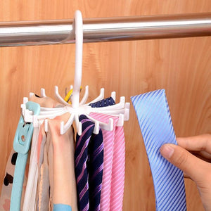 360 Degree Rotating Tie Rack Adjustable Tie Hanger Holds 20 Neck Ties Tie Organizer for Men Closet Organizer