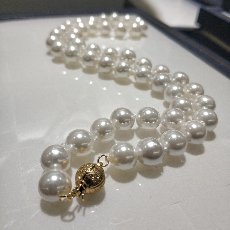 "JYX Shell Pearl Necklace Jewelry  8-8.5mm Round White Natural Sea Shell Pearl Necklace 18"" High Luster top necklace"