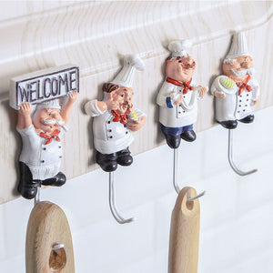 Cartoon Adhesive Stainless Steel Towel Hanger Family Robe Hats Bag Key Adhesive Wall Hooks Kitchen Bathroom