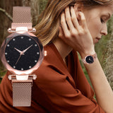 Hot Selling Women Fashion Magnet Buckle Starry Sky Watch Luxury Ladies Gift Quartz Clock Relogio Feminino